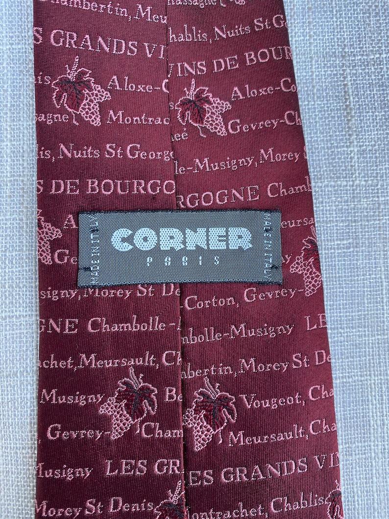 Vintage Wines of Burgundy Region France Les Grand Vins De Bourgogne Silk Necktie by Corner Paris  Vinter  Sommelier  Connoisseur