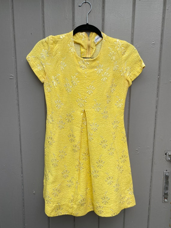 Vintage Gay Gibson Yellow Floral Brocade Baby Doll