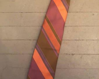 Orange and Pink Striped Silk Necktie by Simpson's