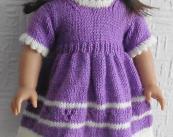 Knitting pattern in DK /light worsted/8 ply yarn for an 18 inch doll