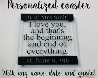 Personalized Acrylic Coasters with Custom Quote - Set of 4!