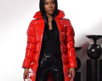Shiny PVC/Vinyl Down Winter Coat (Long Puffer Jacket) - Black, Red, Purple, White - xs, s, m, l, xl