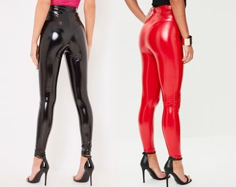 ce1d6226b3ec0 PVC Vinyl Leggings - Black, Red, Pink, Blue, Orange, White etc - Faux  Leather, Latex - XS, S, M, L, XL etc