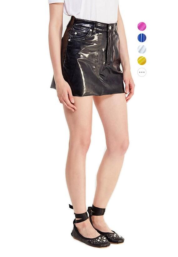 design di qualità 7ba9a f8b0b PVC vinile minigonna - nero, rosso, blu, rosa, bianco, colore giallo ecc -  cuoio, lattice - XS, S, M, L, XL