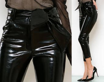 Bow Cropped Leather Pants - Made to Order, More Colors - PVC Vinyl Leather Latex - Any size