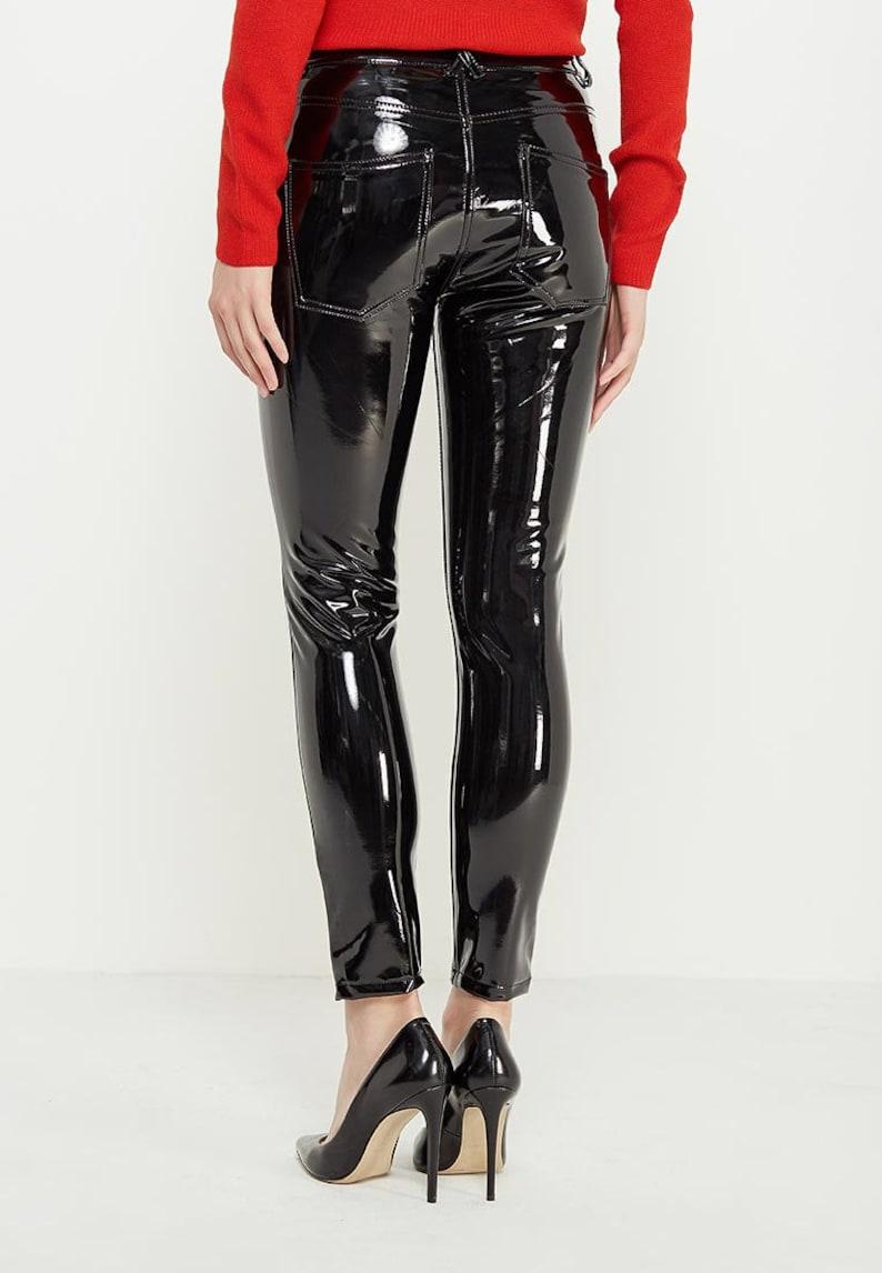3265843f3e84ef PVC Lackleder Latexhosen Leggings Schwarz Rot Rosa