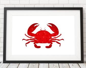 Crab poster, Crab polygon, Nautical Art, Sea life, Nursery Decor, Crab art Print, Animal Print, PRINTABLE poster, Home Decor, Sea life decor