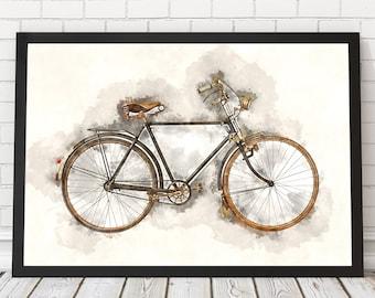 Vintage bicycle poster, Bicycle watercolor, Bike wall art, Vintage bicycle poster, Old bicycle, Vintage gift, Bike poster, PRINTABLE poster