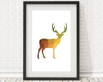 Deer poster, Deer polygon, Nursery Decor, Gift, Deer Print, Woodland Nursery, Animal Print, Woodland Animals, PRINTABLE poster, Home Decor