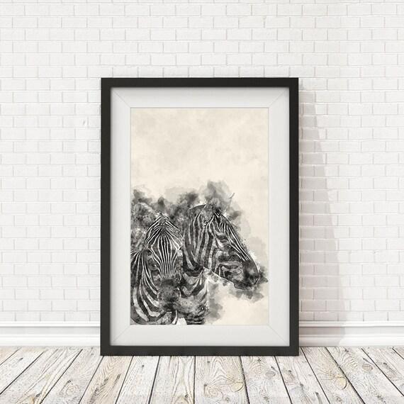 Zebra poster Watercolor zebra Zebra print Wall decor print   Etsy