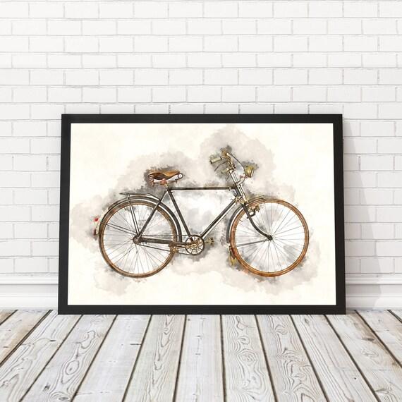 Vintage Fahrrads Plakat Fahrrad Aquarell Fahrrad Wand Kunst Etsy