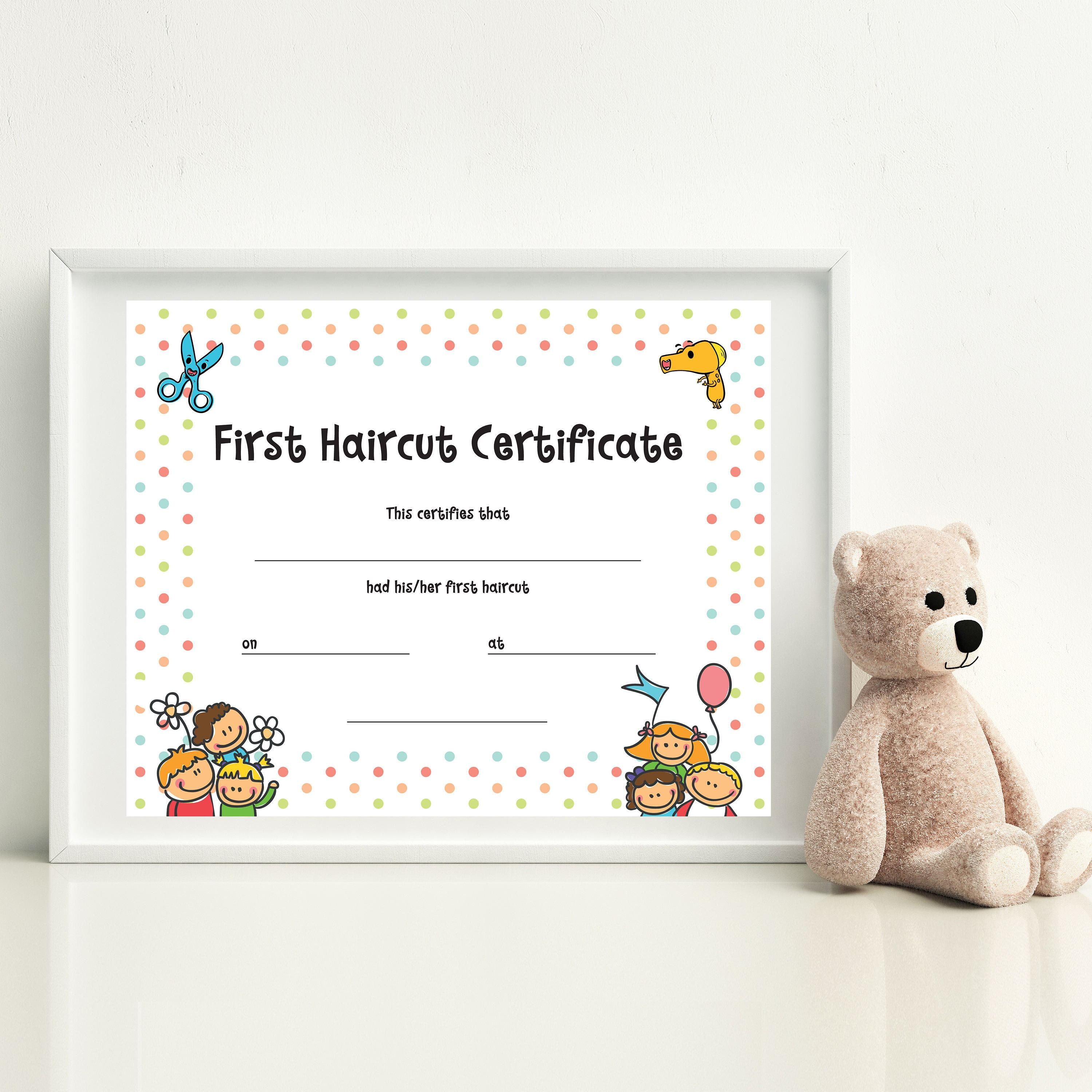 Haircut Certificate First Haircut Certificate Christmas Etsy