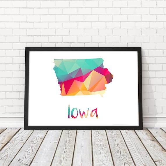 Iowa State map Iowa State abstract map Iowa map poster USA | Etsy
