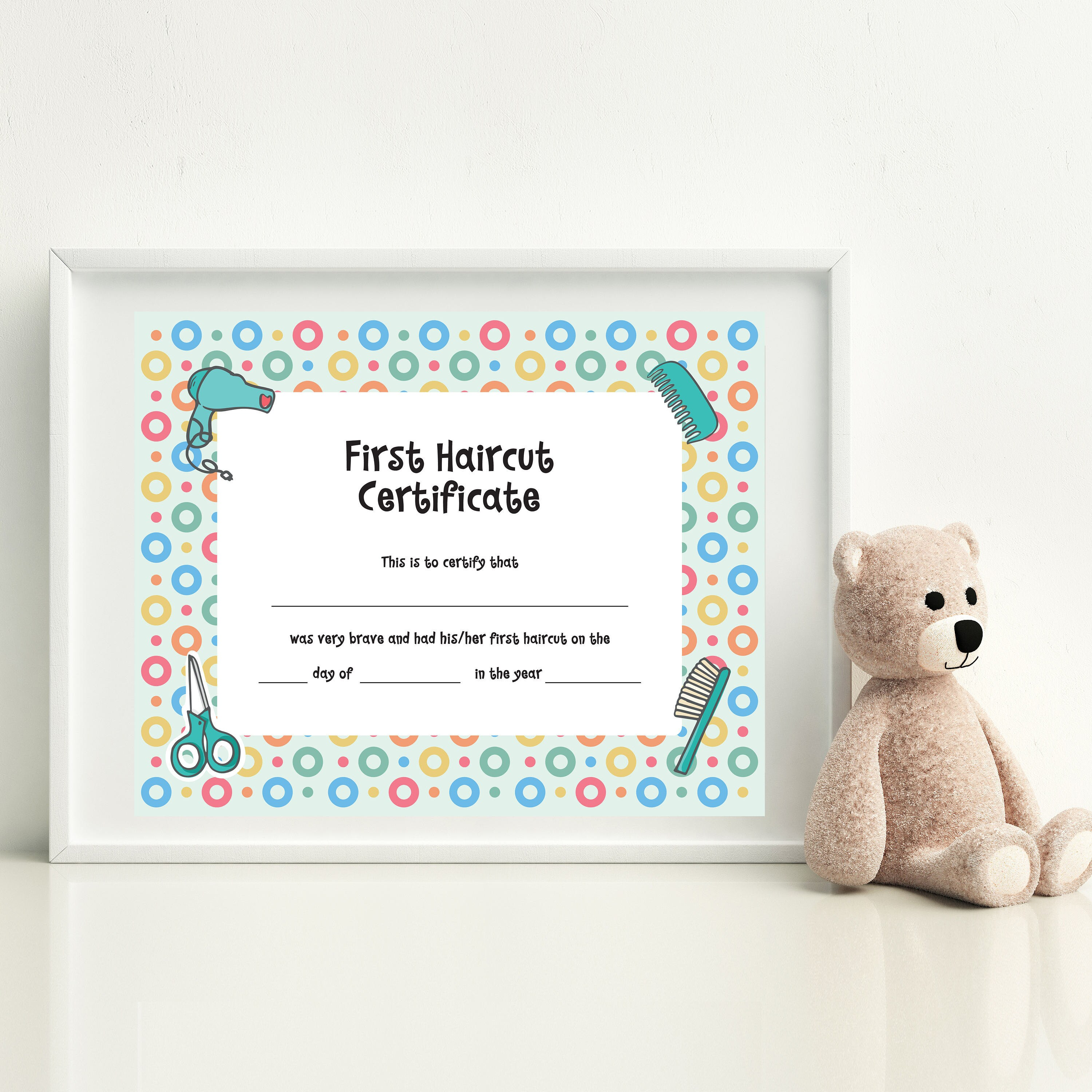 Baby First Haircut Photo Certificate Haircut Certificate Etsy