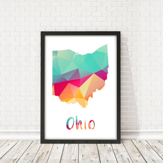Ohio State Map Ohio State Abstract Map Ohio Map Poster Usa Etsy