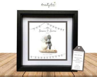 Pebble Art Wedding 'Shabby Chic' Gift. Personalised Picture Handmade Framed to Order. Boho, Vintage, Rustic, Festoon, Lights.