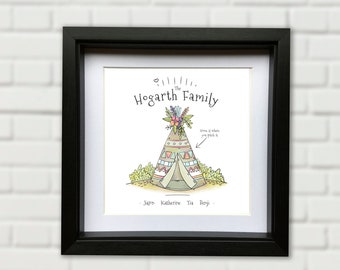 Custom Personalised Family Camping Tent Picture Gift. Various sizes and frames available to order