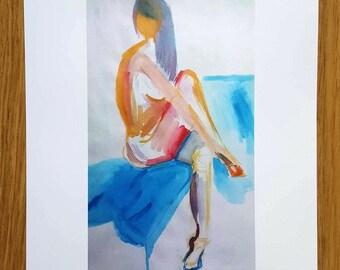 Yellow Lady - A4 Print - life drawing