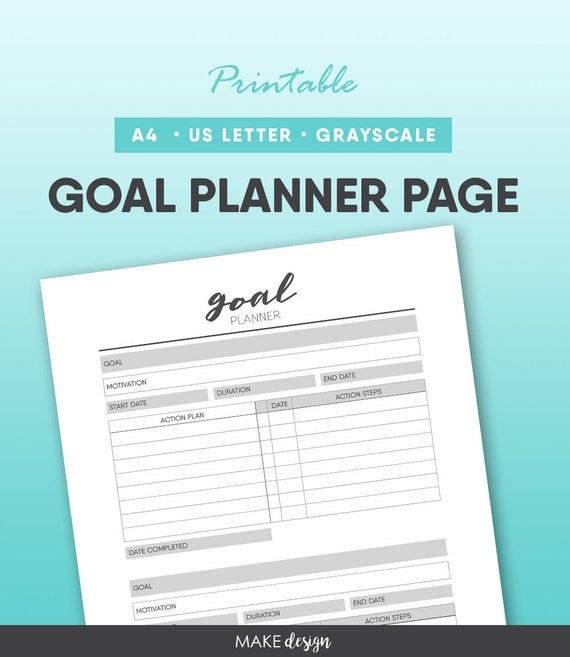 Goal Planner Printable Tracker Setting Worksheet