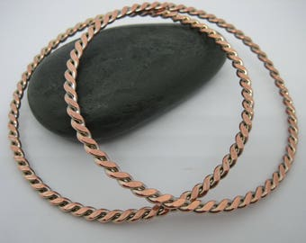 Vintage from the 1980's Two Copper  twisted bangles bracelets