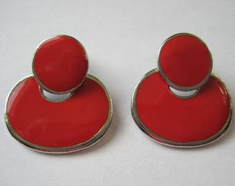 Vintage from the 1980's Red Coral enamel and silver tone door knocker style pierced earrings.