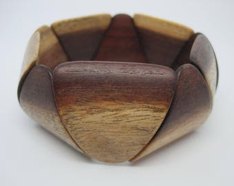 Vintage from the 1980's Wooden triangular bead, stretch, bangle bracelet.