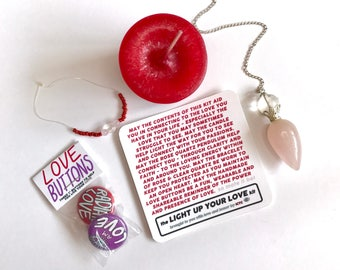 """LIVE LOVE <-> Light Up Your Love Kit Reiki Infused Red Candle Rose Quartz Pendulum Quartz 1"""" Buttons Illustrated Anniversary Sex Date Gift"""