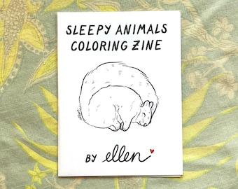 Sleepy Animals Coloring Zine