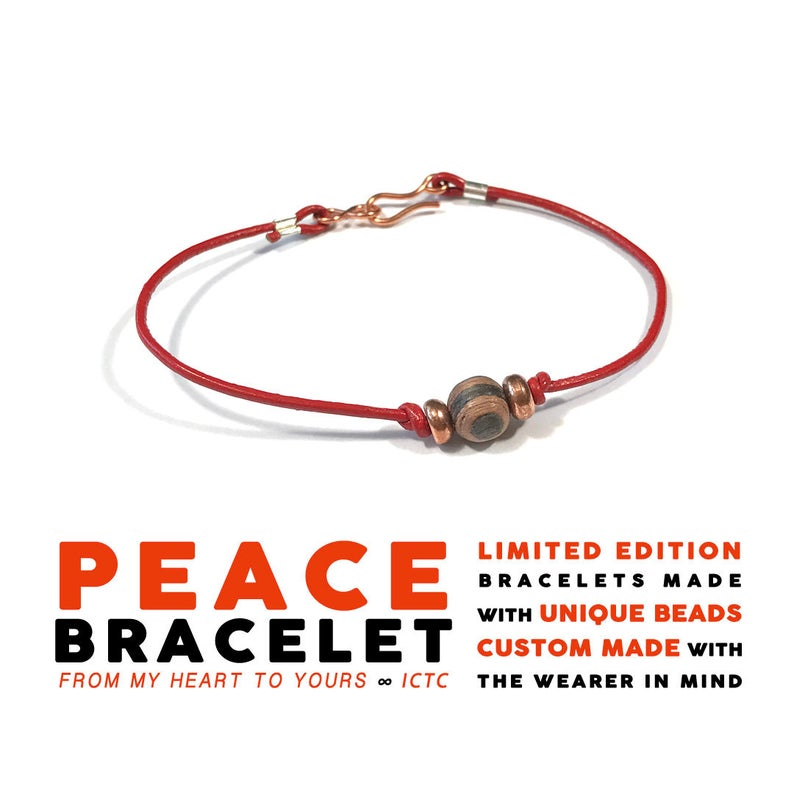 PEACE BRACELET // Striped Wood Copper // 1mm Red Leather image 0