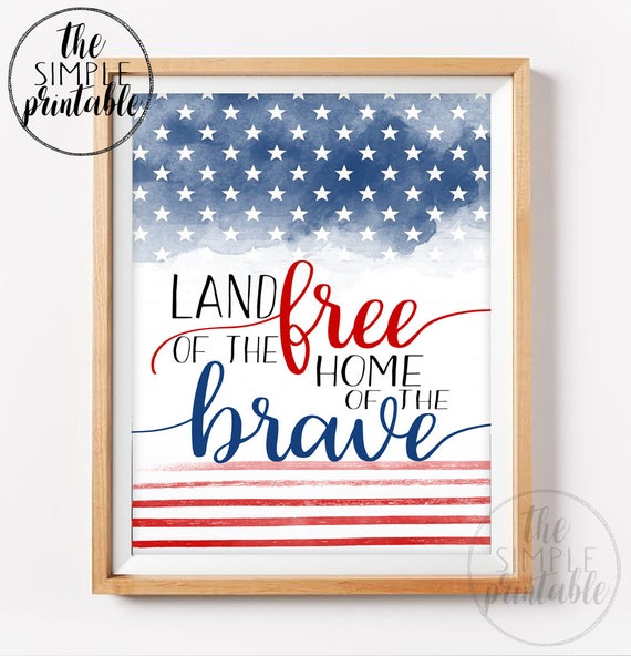 image regarding Free Printable Military Greeting Cards identify Fourth of July printable - land of the no cost household of the courageous - hand lettered print - military services artwork - printable household decor - famous people stripes