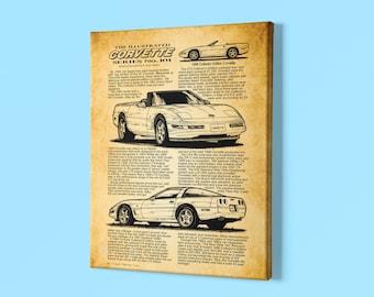 1996 Corvette Canvas Wrap, Collector Edition Art Story, C4 Chevrolet Corvette, Sizes 12x18 & 16x24, Car Guy Art Prints, Man Cave Art Prints