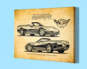 2003 Corvette Canvas Wrap, 50th Anniversary Art, 12x18 or 16x24, Car Guy Decor Gift, C5 Corvette, Chevy Corvette, Man Cave Art, Car Guy Art