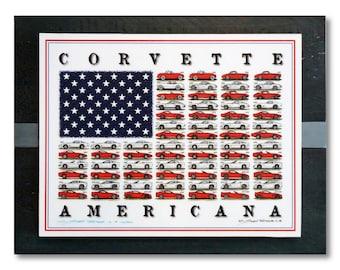 Wood Backed Corvette Americana Art Print on Blue Rustic Wood Boards,American Flag Corvettes,1953-2018 Corvettes,American Flag Corvette Art