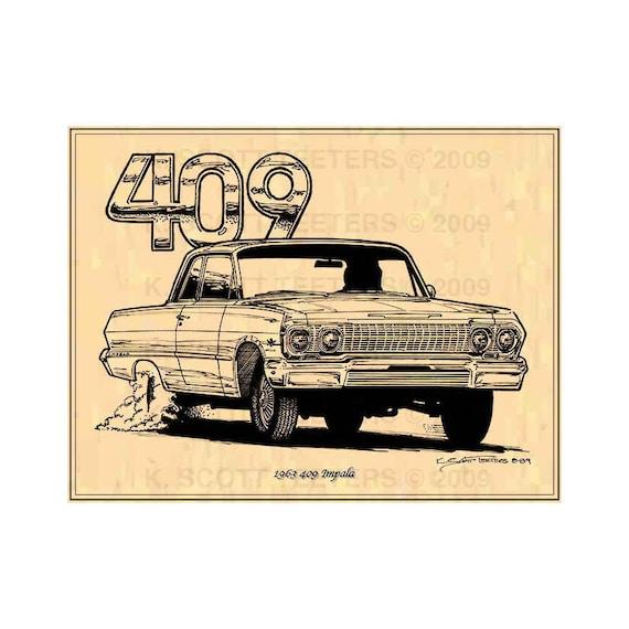 Vintage 1963 Chevy Impala  Advertisement Poster Man Cave Gift Art Decor