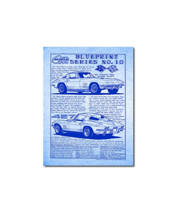 1967 c2 corvette diazo blueprint cardstock car art print1967 malvernweather Images