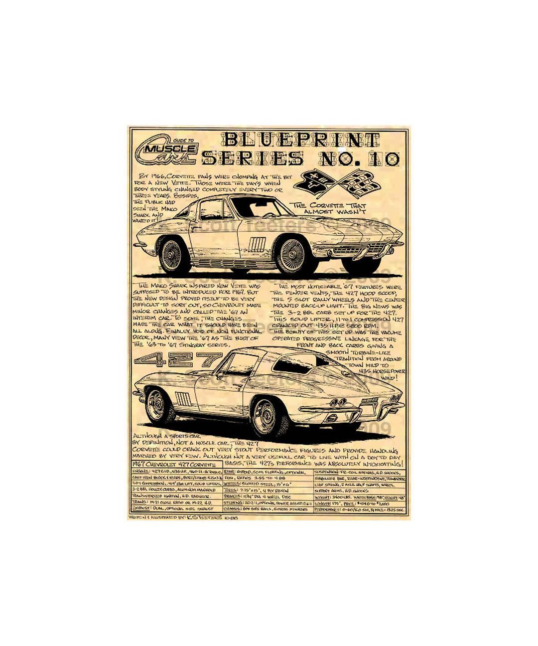 1967 C2 Corvette Production Car Art Print1967 Sting Ray