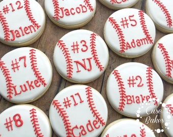 Baseball Cookies - Custom base ball cookie favors - 1 Dozen
