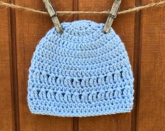 Newborn Beanie, Newborn Hat, Baby Boy Shower Gift, Crochet Newborn Hat Soft Blue