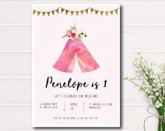 Wild One Girl First Birthday Invitation, birthday invitation, kids invitation, printable invitation, party invites, 1st birthday, Tee-Pee