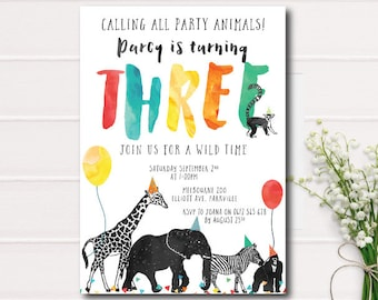 Calling All Party Animals Birthday Invitation, Zoo birthday invitation, safari animals color, printable invitation, wild young and three