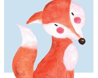 Cute Fox Nursery Print, Woodland Animal Nursery Decor, Nursery prints, Printable Nursery Decor, Watercolour, Digital Prints, Baby Fox Print