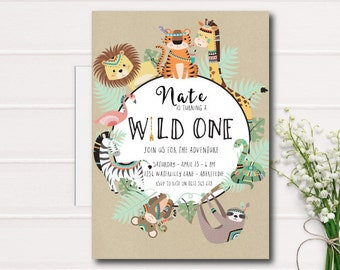 Wild One Birthday Invitation, First 1st Birthday Invitation, Wild One Boy Birthday, Tribal Safari Birthday Invitation Printable Invite