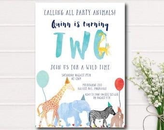 Calling All Party Animals Birthday Invitation, Zoo birthday invitation, safari animals color, printable invitation, Animal Parade Birthday