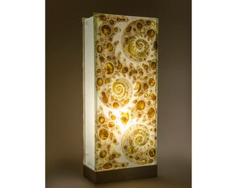 """Table lamp, desk or cast glass coffee """"Nautilius"""" hand painted desk"""