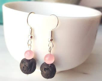 Diffuser pink and black lava earrings, pink glass beads and lava stone essential oil aromatherapy jewelry, simple minimalist drop earrings