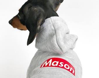 Custom Dog Hoodie || Personalized Dog Hoodie || Grey Dog Hoodie || Pullover Dog Hoodie || Warm Dog Sweater || Dog Clothes ||