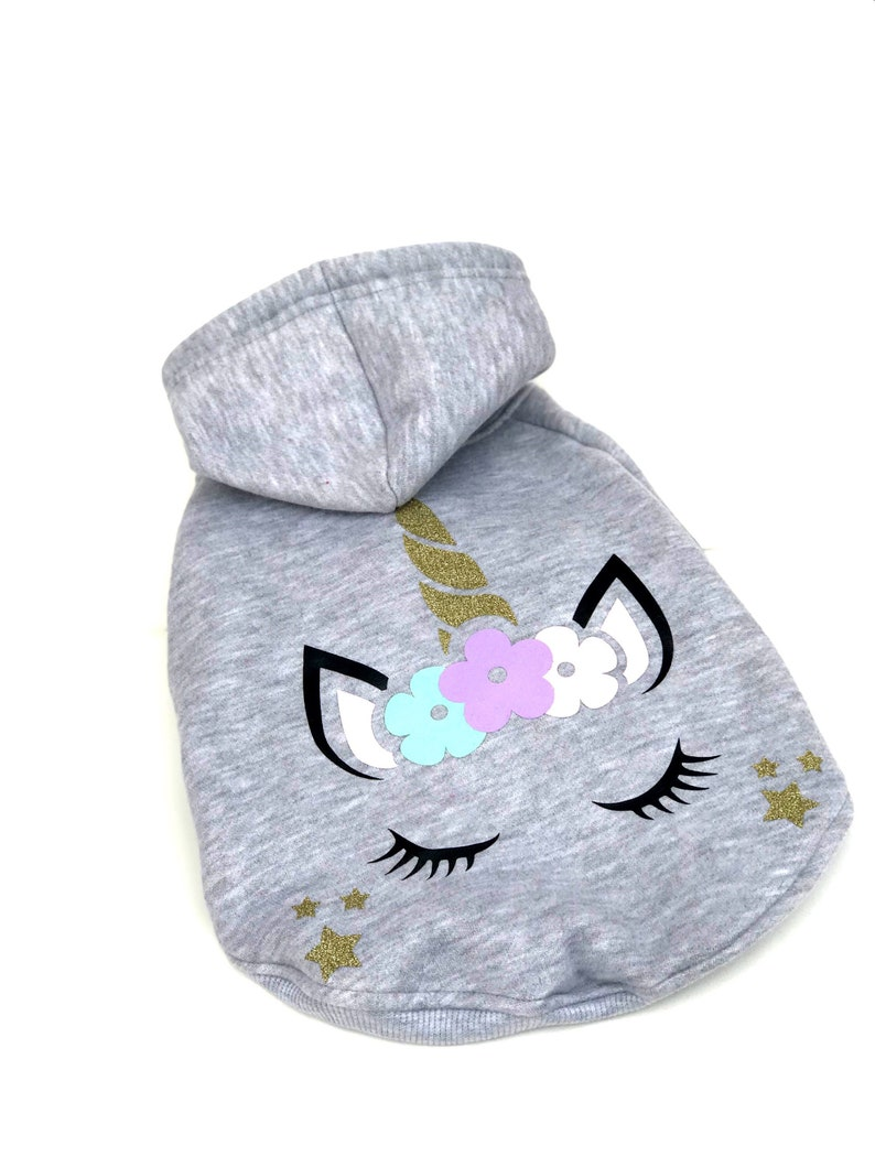 Warm Dog Clothes | Dog Sweatshirt Winter Dog Clothes Grey Dog Hoodie Unicorn Dog Hoodie