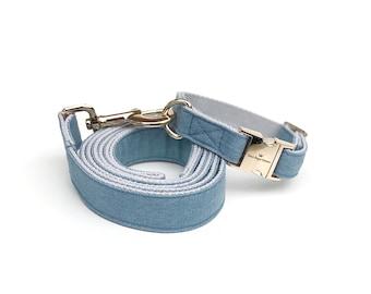 Denim Dog Collar || Collar and Leash Set || Adjustable Collar || Gold Hardware || Denim Dog Leash