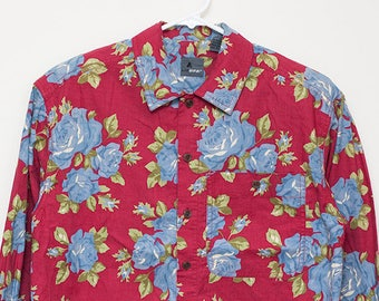 Liz Claiborne LizWear Floral Pattern Long-Sleeve Button-Up Blouse Red Small