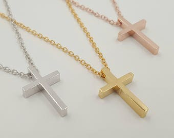 Cross necklace Simple cross necklace Dainty cross pendant, delicate cross necklace, Simple Layering Necklace, Gift for Her